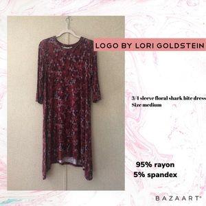 LOGO by Lori Goldstein 3/4 Sleeve Floral Dress